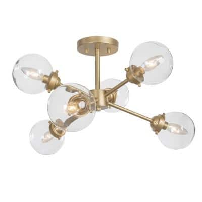 Amonti 25 in. 6-Light Natural Brass Sputnik Cluster Semi-Flush Mount with Clear Glass Shade