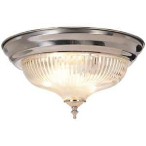 2-Light Brushed Nickel Flushmount with Clear Ribbed Swirl Glass