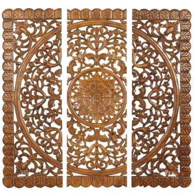 Amelia 48 in. H x 16 in. W Brown Wall Plaques (Set of 3)