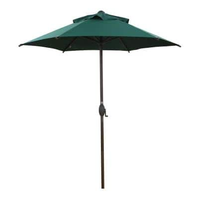 7-1/2 ft. Round Outdoor Market with Push Button Tilt and Crank Lift Patio Umbrella in Green