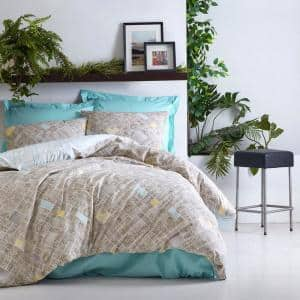 Beige Creations Duvet Cover Set Turquoise Full Size Cotton Duvet Cover 1-Duvet Cover 1-Fitted Sheet and 2-Pillowcases