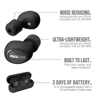 FREE Bluetooth Hearing Protection Earbuds, 22 dB Noise Reduction Rating, OSHA Compliant Ear Protection (Black)