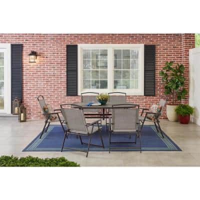 Mix and Match 7-Piece Metal Sling Folding Outdoor Dining Set