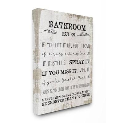 "16 in. x 20 in. ""Bathroom Rules Wood"" by Daphne Polselli Canvas Wall Art"