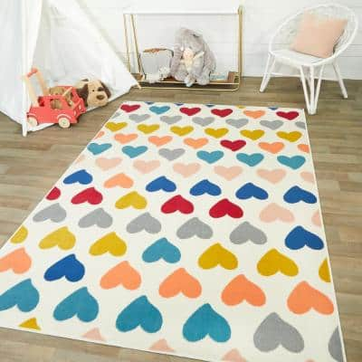 Cute Hearts Multicolor 5 ft. x 7 ft. Area Rug
