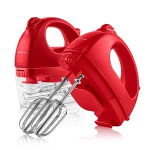5-Speed Red Portable Electric Hand Mixer with 2-Chrome Beater Attachments and Snap-on Storage Container