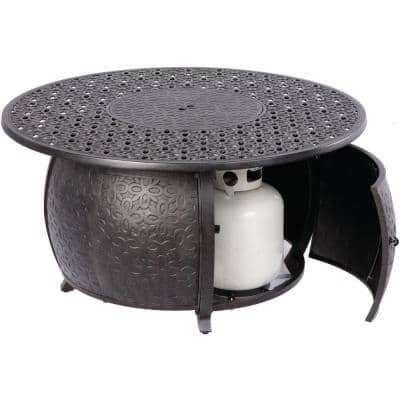 Margherita 24 in. x 48 in. Round Cast Aluminum Propane Gas Fire Pit Table with Glacier Ice Firebeads