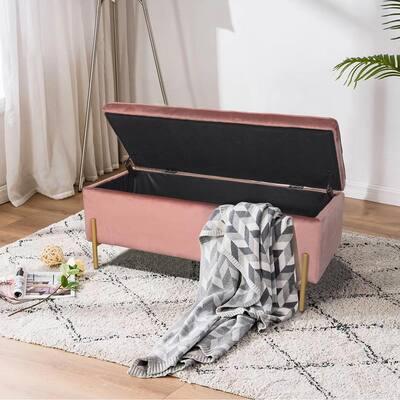 Upholstered Pink Flip Top Storage Bench