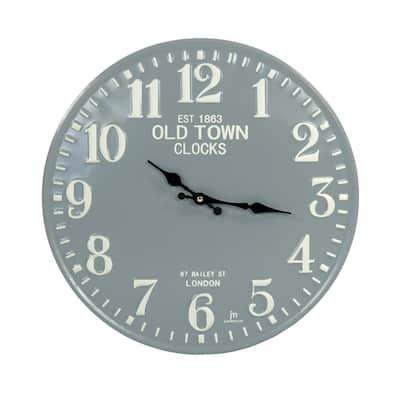 Embossed Numbered Round Dark Grey Metal Clock