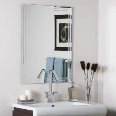 24 in. W x 32 in. H Frameless Rectangular Beveled Edge Bathroom Vanity Mirror in Silver