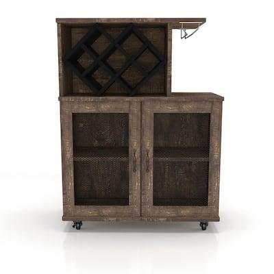 Ari Reclaimed Oak Mobile Mini Bar with Wine Rack