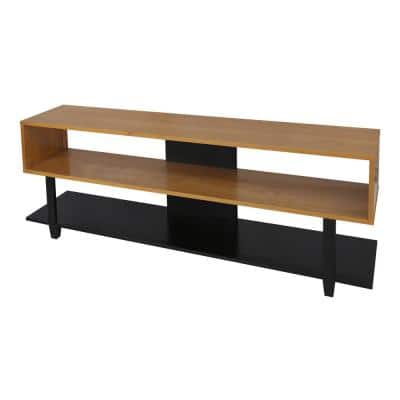 Creek 62 in. Natural Cherry and Black Wood TV Stand Fits TVs Up to 60 in. with Built-In Storage
