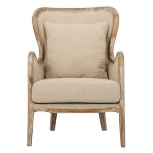 Crenshaw Beige Fabric Wing Chair