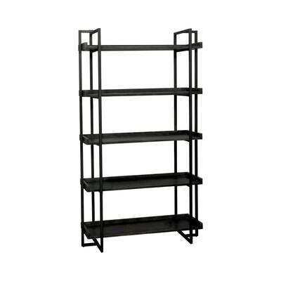 Kimbra 40.5 in. W x 72 in. H x 15.38 in. D Black 5-Tier Ladder Shelf