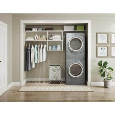 Style+ 25 in. W White Hanging Wood Closet Tower