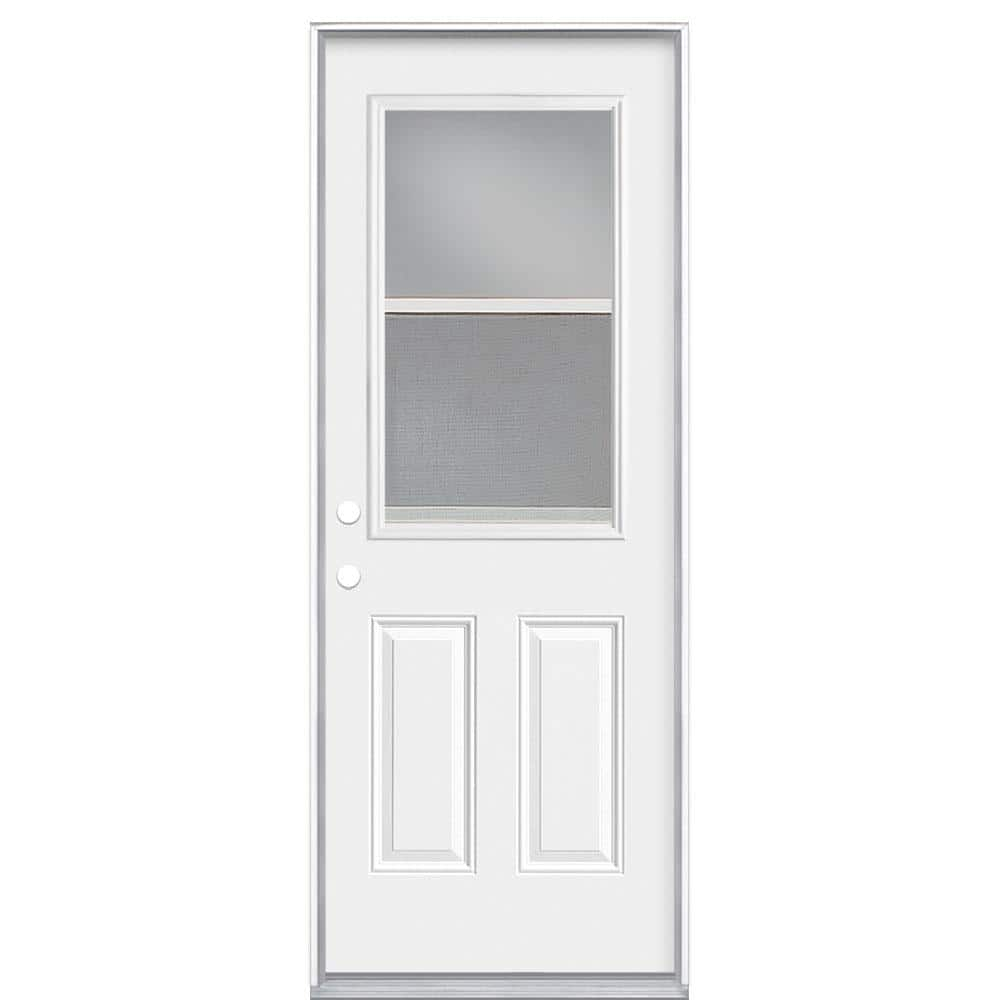 Masonite 30 In X 80 In Premium Right Hand Inswing Venting Half Lite Primed Steel Prehung Front Exterior Door No Brickmold 23990 The Home Depot
