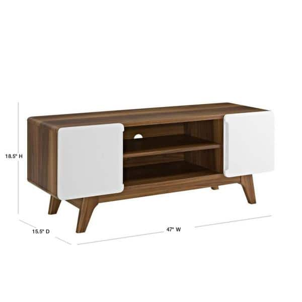 Modway Tread 47 In Walnut And White Wood Tv Stand Fits Tvs Up To 52 In With Storage Doors Eei 2532 Wal Whi The Home Depot