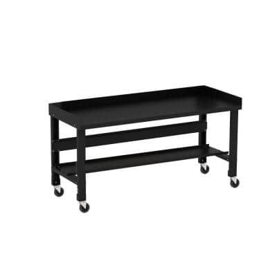 34 in. x 60 in. Black Painted Heavy-Duty Adjustable Height Workbench with Casters, Back and End Guards and Bottom Shelf