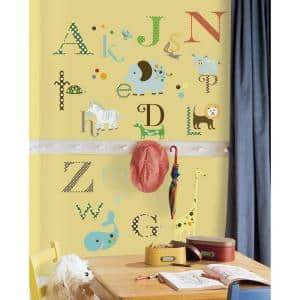 10 in. x 18 in. Animal Alphabet 107-Piece Peel and Stick Wall Decals