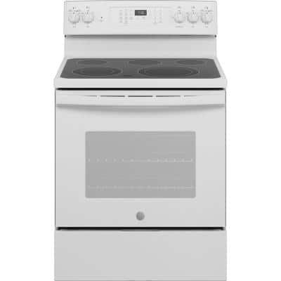 30 in. 5.3 cu. ft. Electric Range with Self-Cleaning Convection and Air Fry in White