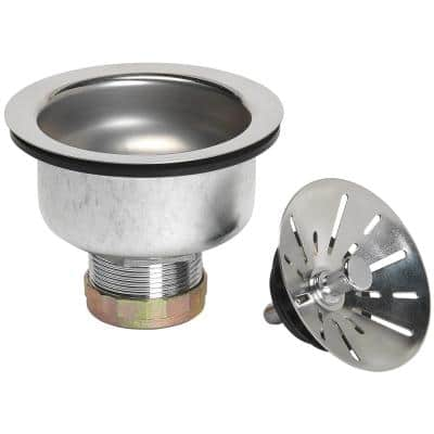 Ball Lock Kitchen Sink Strainer - Stainless steel with polished finish