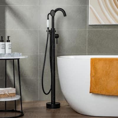 Eureka Single-Handle Freestanding Floor Mount Tub Filler Faucet with Hand Shower in Matte Black