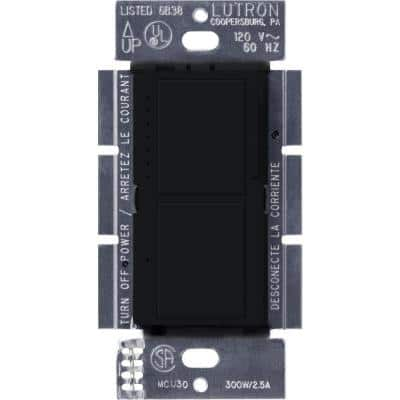 Maestro 300-Watt Single-Pole Dual Dimmer and Switch - Midnight