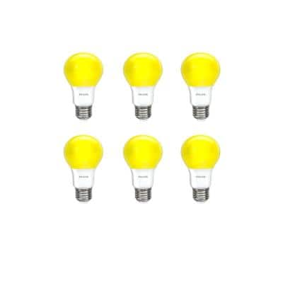 60-Watt Equivalent A19 Non-Dimmable Yellow LED Bug Light Bulb (6-Pack)