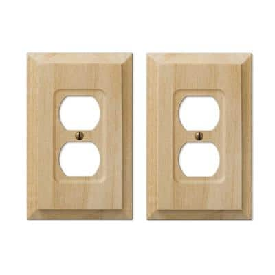 Cabin 1 Gang Duplex Wood Wall Plate - Unfinished (2-Pack)
