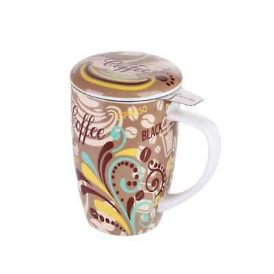 Large Tea Mug 15.2oz. Coffee with Lid and Stainless Steel Infuser -Tea-for-One Perfect Set for Office and Home Use