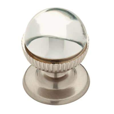 Classic 1-1/3 in. (34mm) Satin Nickel and Clear Glass Round Cabinet Knob