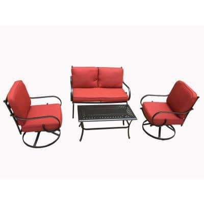 Steward 4-Piece Metal Patio Outdoor Dining Set with Red Cushions