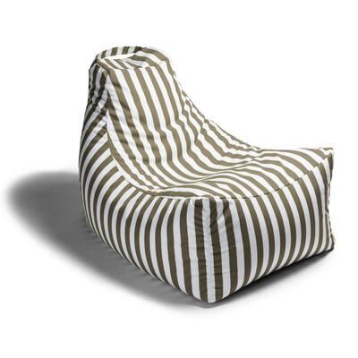 Juniper Taupe Stripes Outdoor Bean Bag Patio Lawn Chair