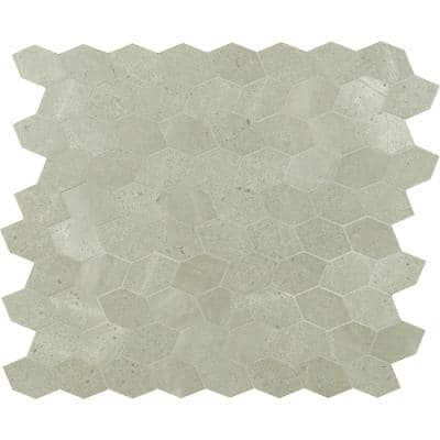 Lilly Pad 12.6 in. x 11.15 in. x 10mm Honed Limestone Blend Mesh-Mounted Mosaic Floor and Wall Tile (0.98 sq. ft.)