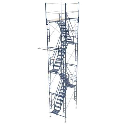 5 ft. x 7 ft. x 26 ft. Scaffolding Tower with 76 in. Stair and 24 in. Leveling Jacks