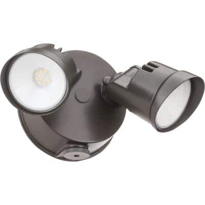 Contractor Select OVFL Series 20-Watt Bronze Dusk to Dawn Integrated LED Outdoor 2-Head Flood Light