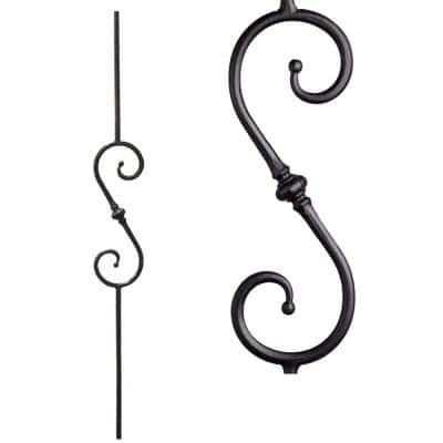 Tuscan Round Hammered 44 in. x 0.5625 in. Satin Black Single Knuckle Scroll Solid Wrought Iron Baluster