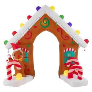 8.4 ft Pre-Lit LED Giant-Sized Airblown Gingerbread Arch Christmas Inflatable