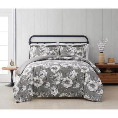 Rochelle 2-Piece Grey Floral Cotton Twin/Twin XL Comforter Set