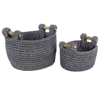 Large Round Navy Blue Mesh and Cotton Rope Baskets with Teak Wood Handles (Set of 2)