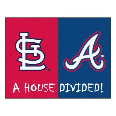 MLB Cardinals/Braves House Divided Red 3 ft. x 4 ft. Area Rug