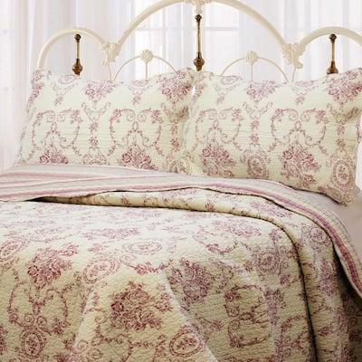 Country Vintage Floral Rose Medallion Toile Stripe 3-Piece Cream Burgundy Red Tan Cotton King Quilt Bedding Set