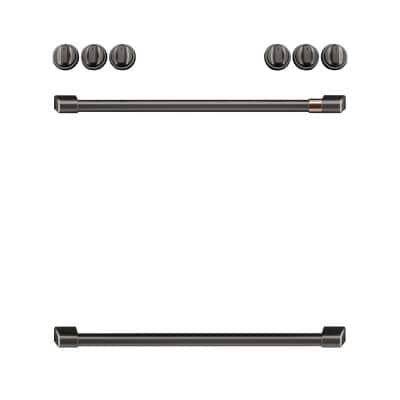 Front Control Induction Range Handle and Knob Kit in Brushed Black
