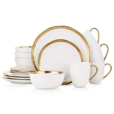 32-Piece Dishes for 8-Gold and White Florian Modern Porcelain Dish Set