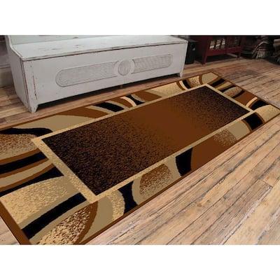 Nairobi Collection Mira Brown 3 ft. x 8 ft. Polypropylene Runner Rug