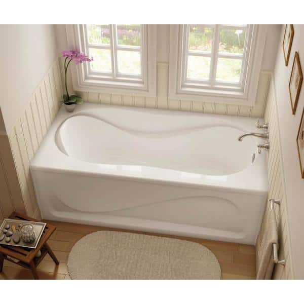 Maax Cocoon 60 In Acrylic Right Hand Drain Rectangular Apron Front Bathtub In White 105822 000 001 104 The Home Depot