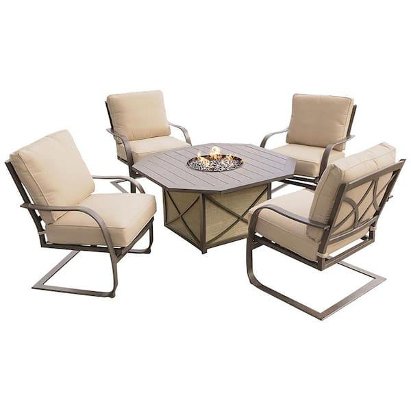 5 Piece Aluminum Patio Fire Pit Conversation Set With Sunbrella Beige Cushions Hd8299gst 8657sc4 Et The Home Depot