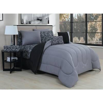 Animal 7-Piece Grey/Black Twin Comforter Set