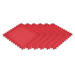 Red 24 in. x 24 in. EVA Foam Non-Toxic Solid Color Interlocking Tiles (120 sq. ft. - 30 tiles)