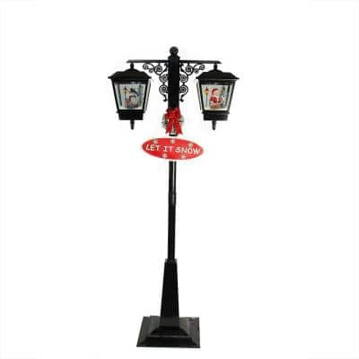 74 in. Christmas Lighted Black Musical Snowing Santa and Snowman Double Street Lamp